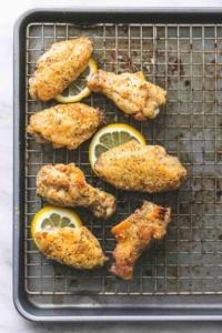 Baked Lemon Pepper Chicken Wings easy appetizer recipe | lecremedelacrumb.com