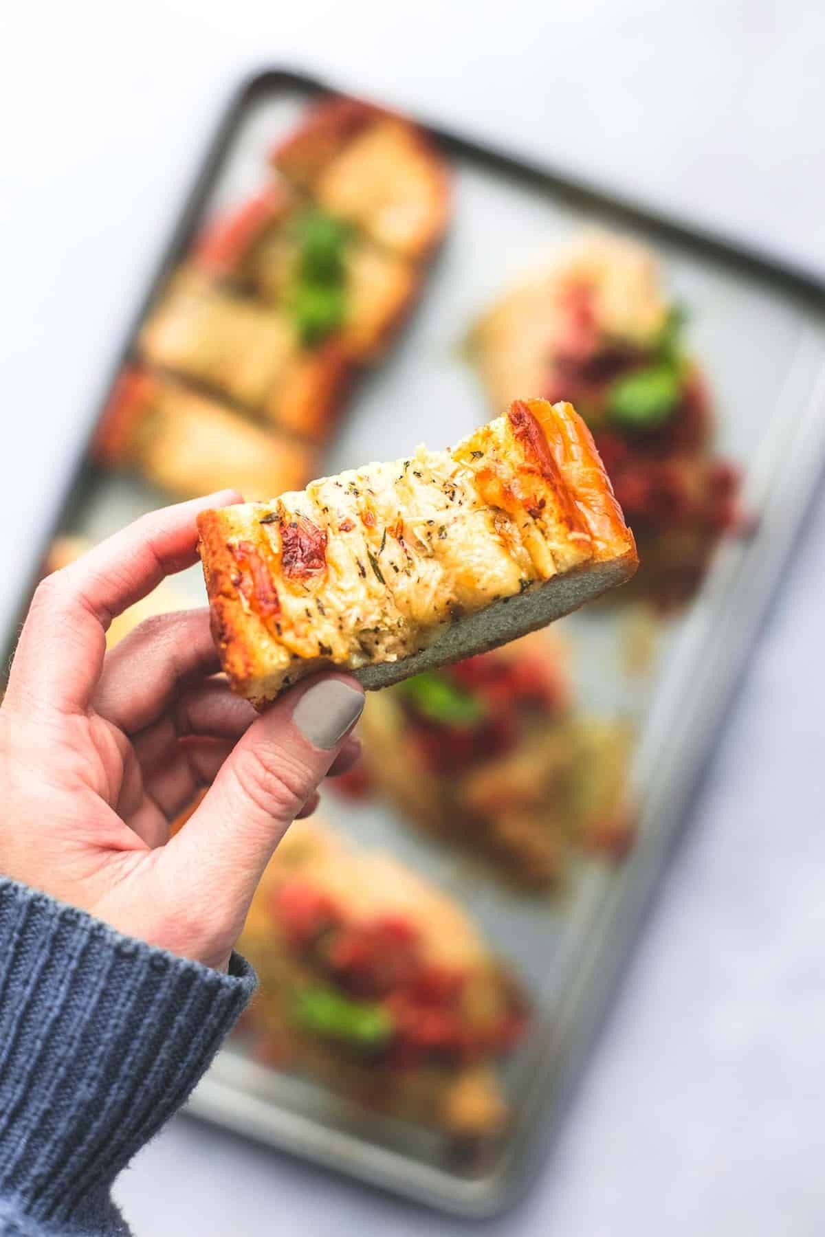 Sheet Pan Bruschetta Chicken and Cheesy Garlic Bread easy one pan dinner recipe | lecremedelacrumb.com