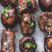 Grilled Steak and Mushroom Kabobs easy beef dinner skewer recipe | lecremedelacrumb.com