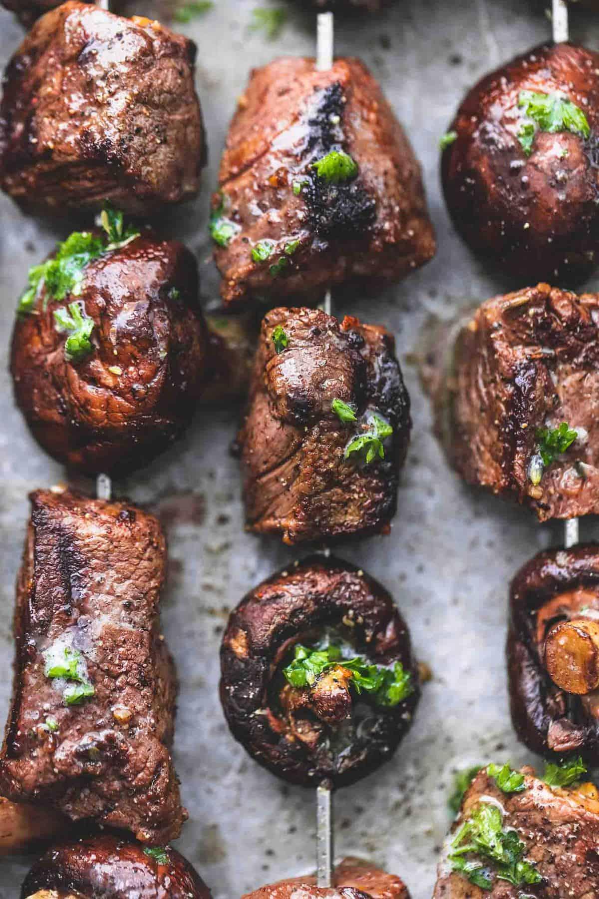 Grilled Steak and Mushroom Kabobs easy beef dinner skewer recipe   lecremedelacrumb.com