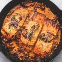 Salmon in Creamy Sun Dried Tomato Sauce easy 30 minute dinner recipe | lecremedelacrumb.com