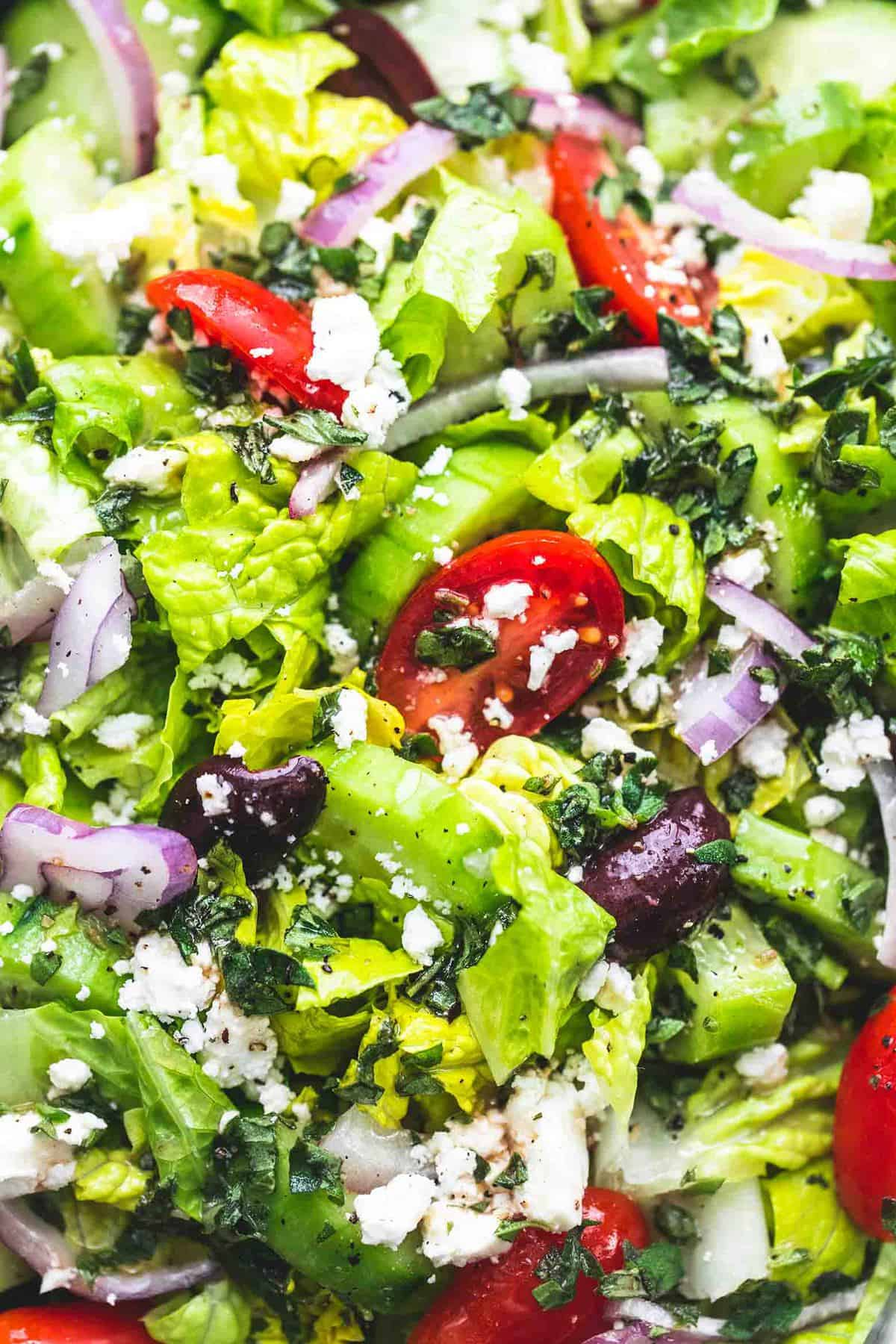 Easy Greek Tossed Green Salad side dish recipe | lecremedelacrumb.com