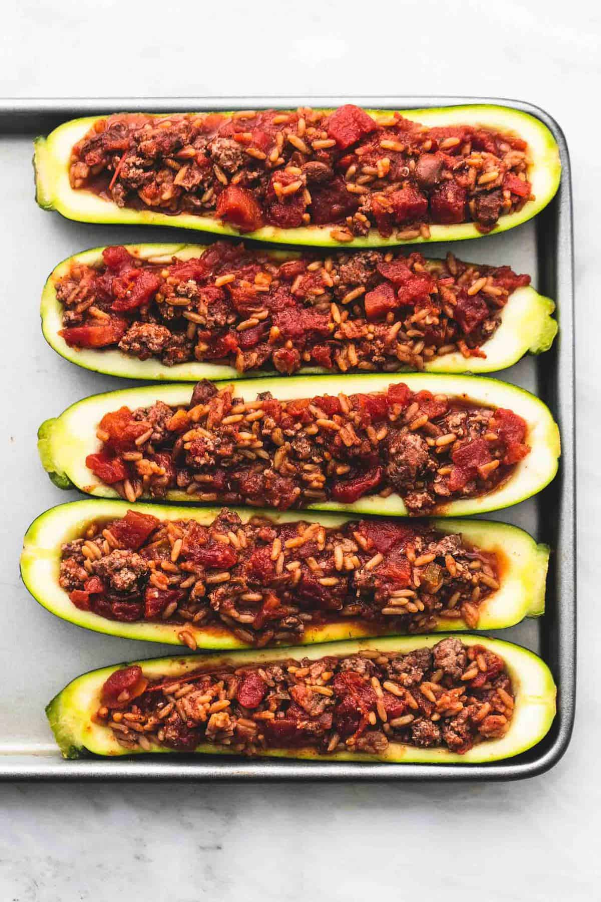 Easy Taco Stuffed Zucchini Boats healthy dinner recipe | lecremedelacrumb.com