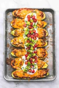 Enchilada Quinoa Stuffed Zucchini Boats easy healthy recipe | lecremedelacrumb.com