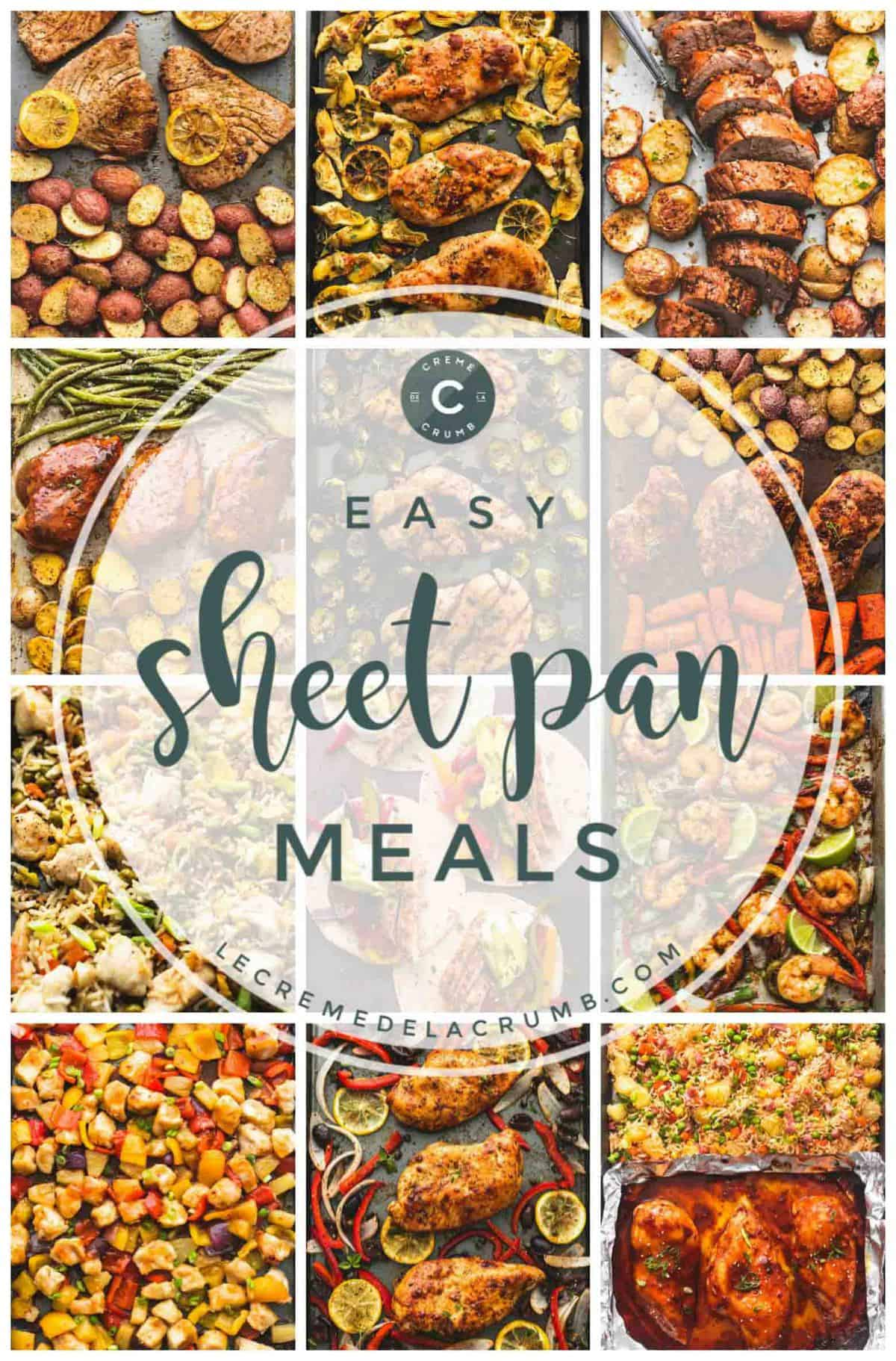 """an image of the cover of the """"Easy Sheet Pan Meals"""" cookbook."""