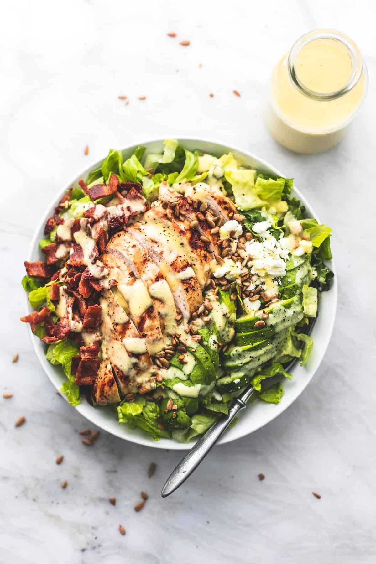 Chicken, Bacon and Avocado Salad with Sweet Vidalia Onion Dressing easy salad recipe | lecremedelacrumb.com