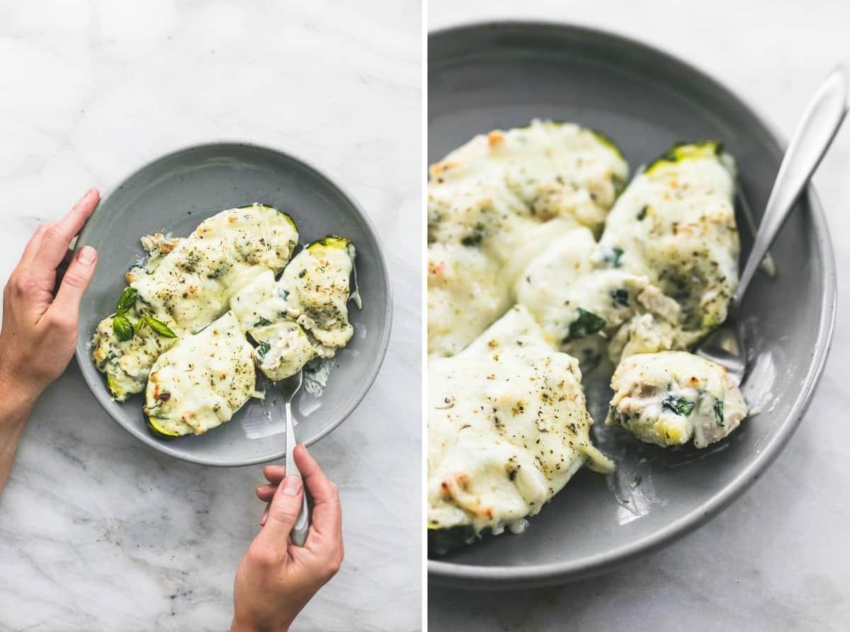 White Chicken Lasagna Stuffed Zucchini Boats easy healthy recipe | lecremedelacrumb.com