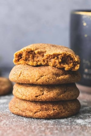 Perfectly soft and CHEWY Pumpkin Snickerdoodles recipe   lecremedelacrumb.com