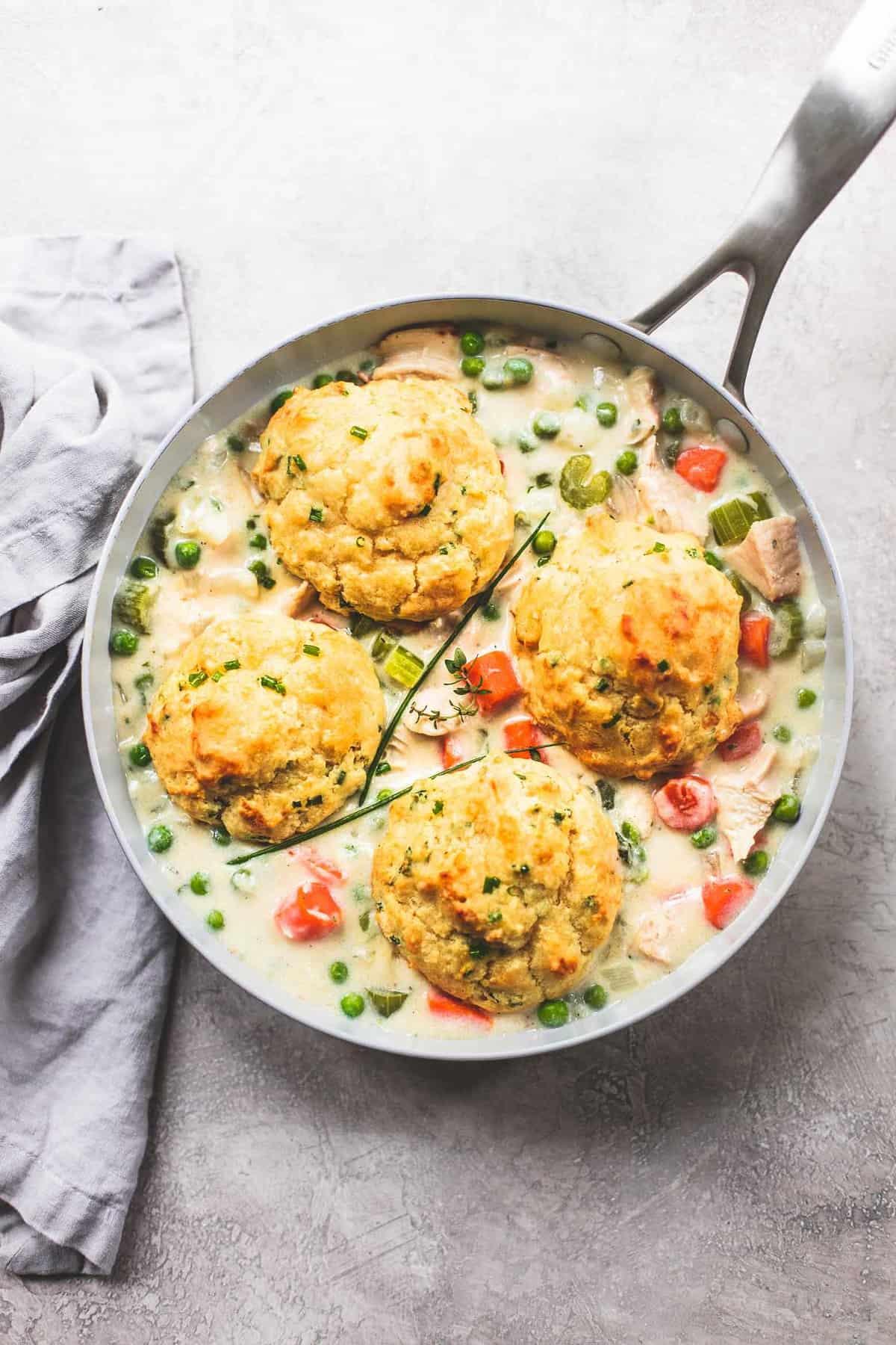 Skillet Chicken Pot PIe easy dinner recipe | lecremedelacrumb.com