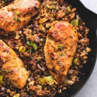 Easy Skillet and Stuffing with quick chicken gravy | lecremedelacrumb.com