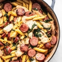 Easy Chicken and Sausage Pasta recipe | lecremedelacrumb.com