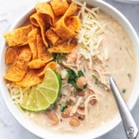 Easy Instant Pot White Chicken Chili recipe healthy dinner recipe | lecremedelacrumb.com