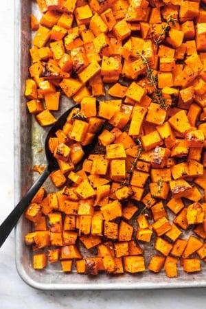 Easy healthy oven Roasted Butternut Squash recipe | lecremedelacrumb.com