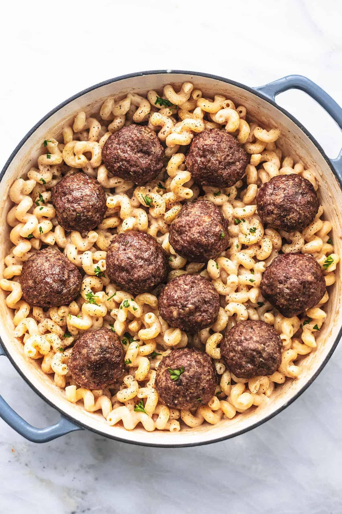 Easy Swedish Meatball Pasta recipe | lecremedelacrumb.com
