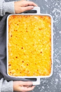 Easy Cheesy Mashed Potatoes Casserole side dish recipe | lecremedelacrumb.com