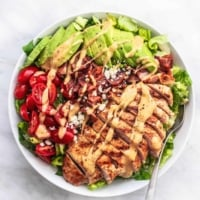 Easy healthy and tasty Chicken Avocado Salad recipe | lecremedelacrumb.com