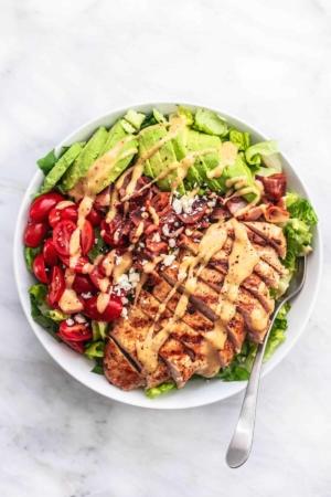 Easy healthy and tasty Chicken Avocado Salad recipe | lecremedelacrumb.com
