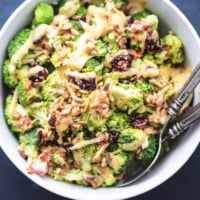 Easy tasty Best Broccoli Salad Recipe (No Mayo!) | lecremedelacrumb.com