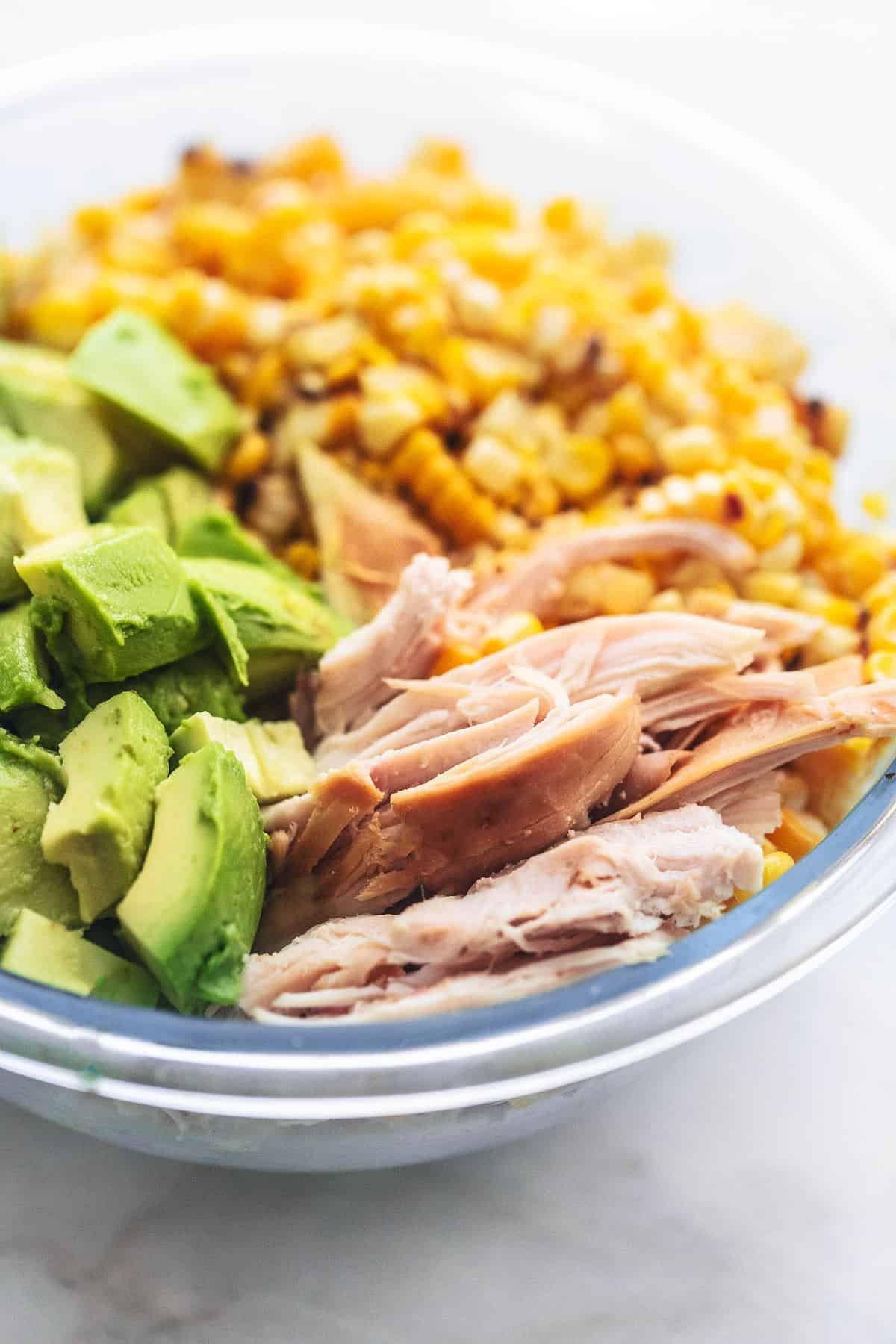 CHICKEN AVOCADO CORN SALAD easy healthy recipe | lecremedelacrumb.com