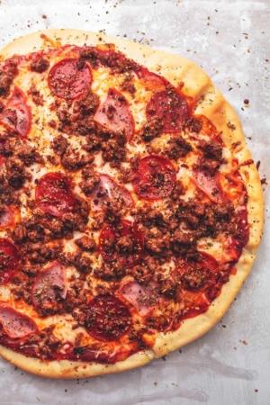 Meat Lovers Pizza recipe   lecremedelacrumb.com