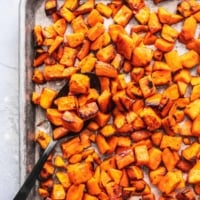 Easy, crispy and savory oven ROASTED SWEET POTATOES recipe | lecremedelacrumb.com