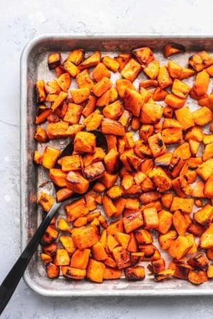 Easy, crispy and savory oven ROASTED SWEET POTATOES recipe | lecremedelacrumb.com