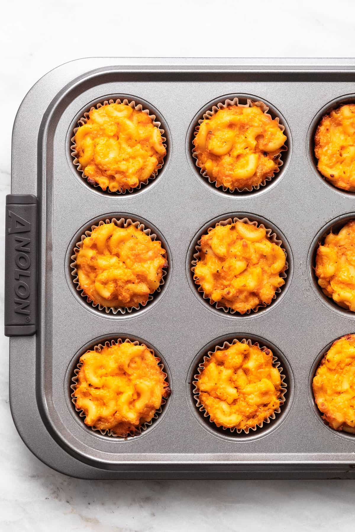 buffalo macaroni and cheese baked in muffin tin