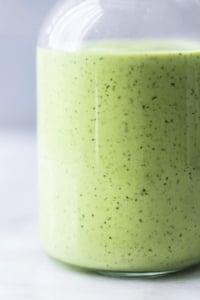 healthy cilantro avocado ranch dressing in a bottle