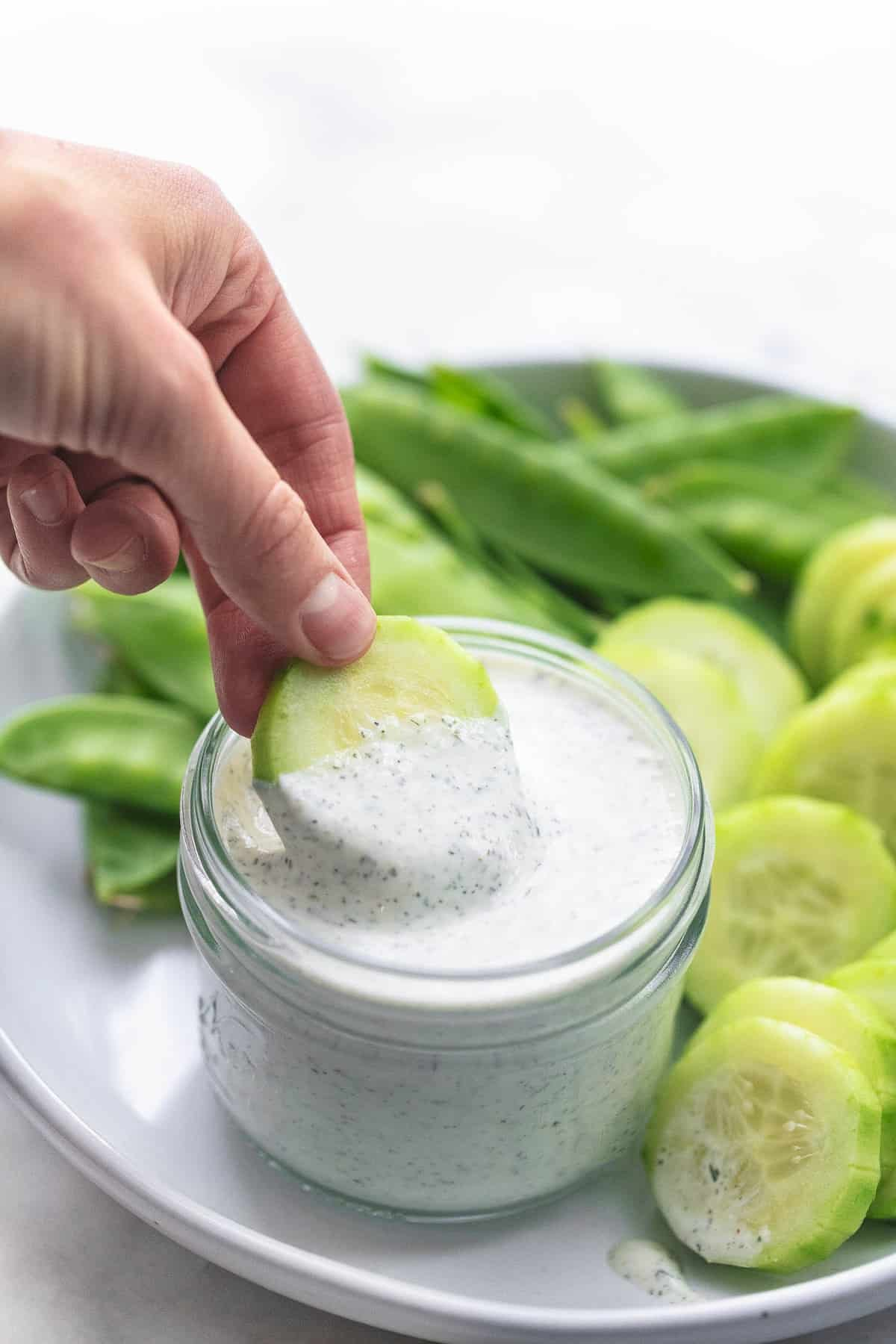 Greek Yogurt Ranch Dressing or Dip easy healthy Recipe | lecremedelacrumb.com