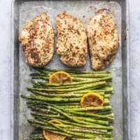 Easy healthy Sheet Pan Chicken and Asparagus dinner recipe | lecremedelacrumb.com