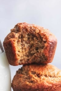close up bran muffins with a bite out