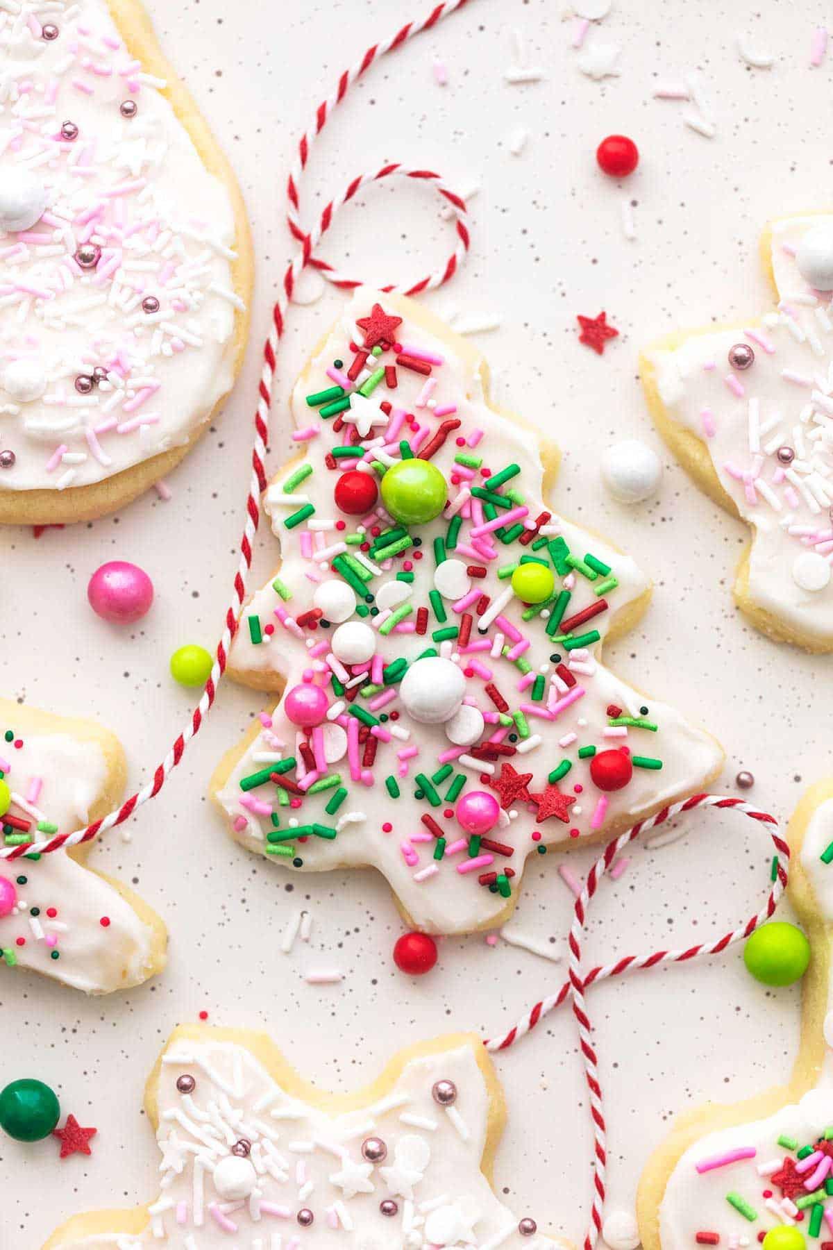 christmas tree sugar cookie with sprinkles