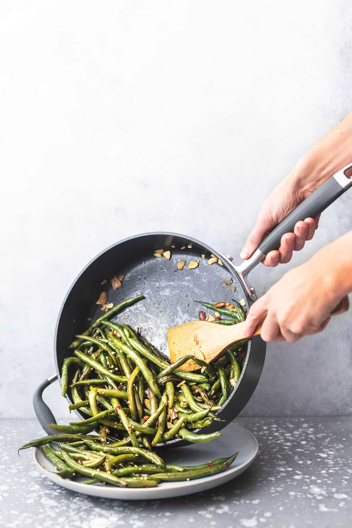 green beans scooped out of skillet