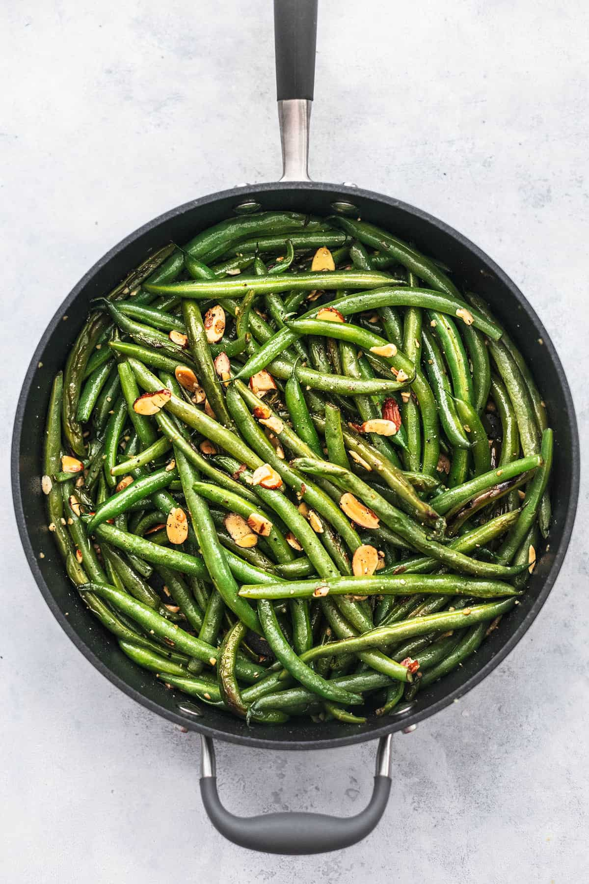 overhead green beans in skillet