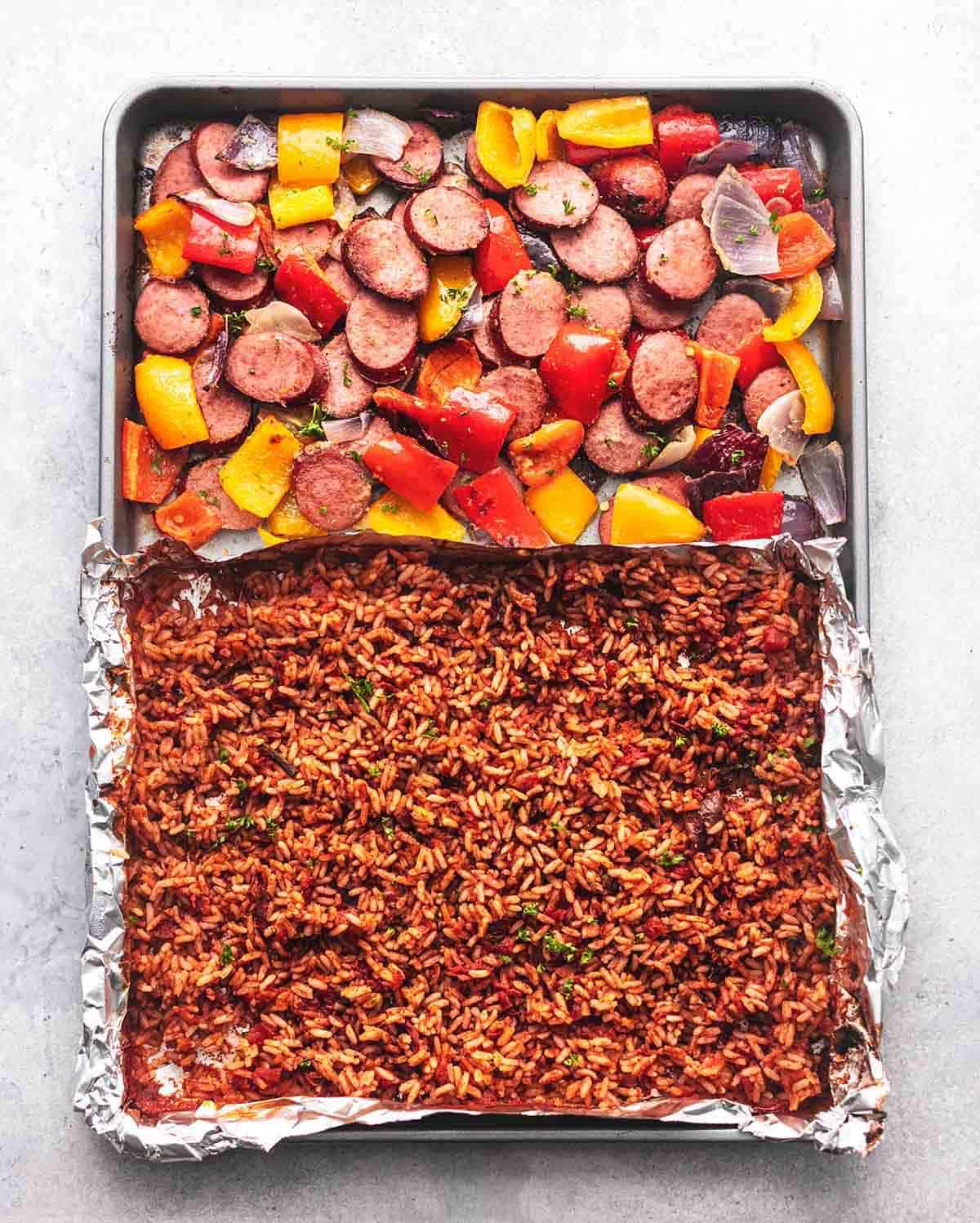 sheet pan sausage and vegetables and rice