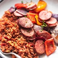 up close sausage and vegetables and rice