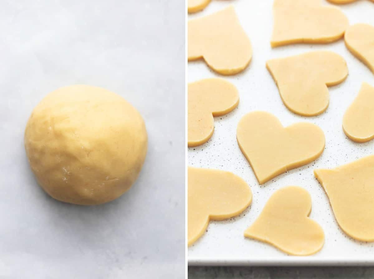 sugar cookie dough and cutout sugar cookies unbaked
