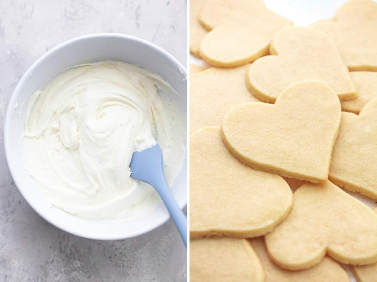 frosting in a bowl and heart shaped sugar cookies