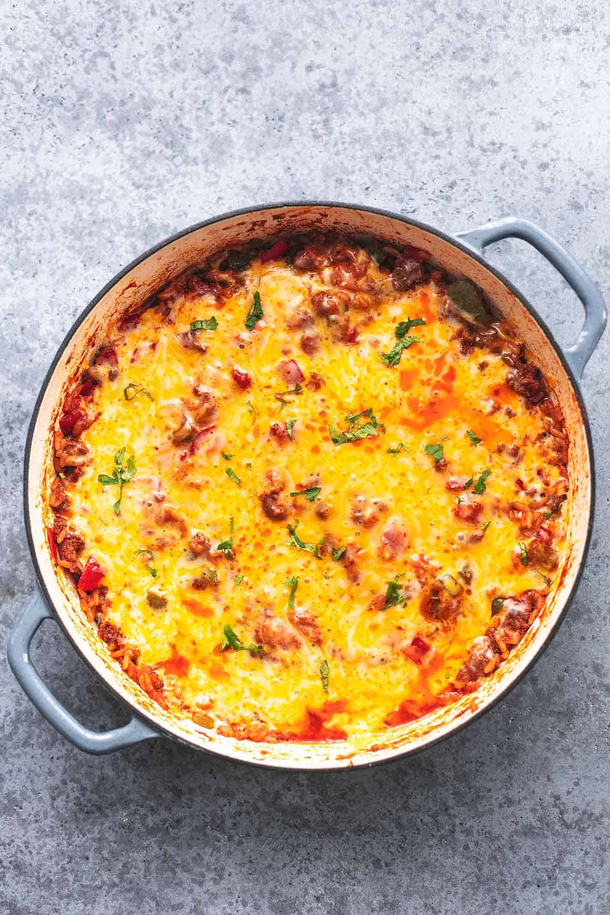 stuffed pepper casserole in a skillet