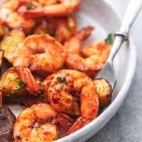 shrimp on a fork up close