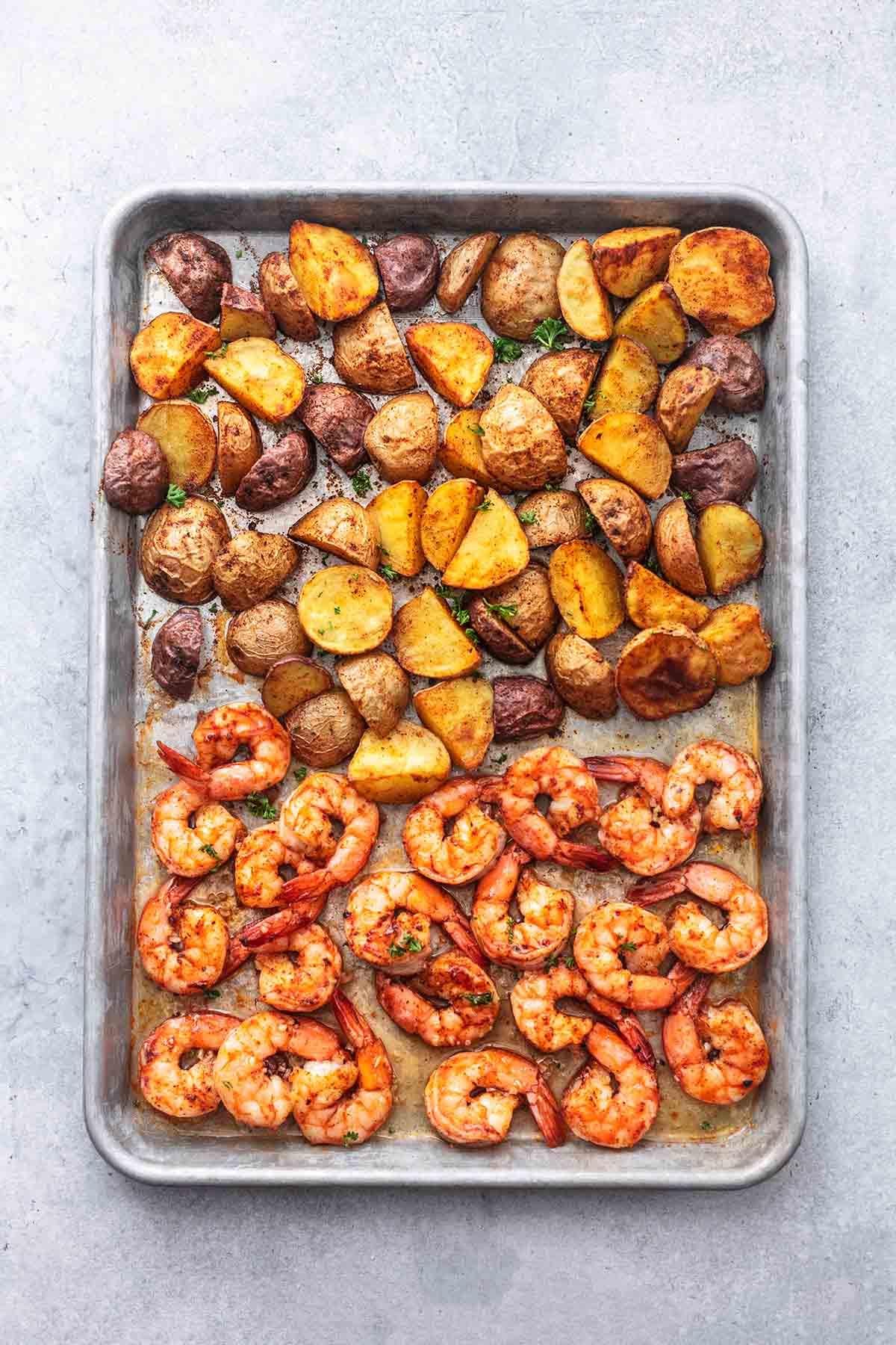 cajun shrimp and potatoes on a sheet pan