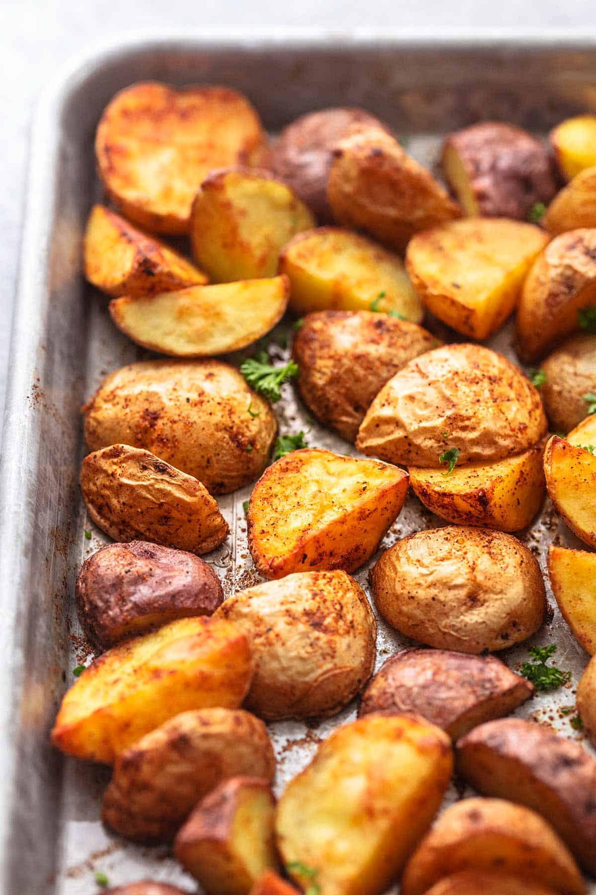 up close potatoes on a sheet pan