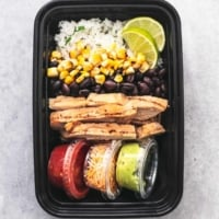 chicken burrito bowl in a meal prep container