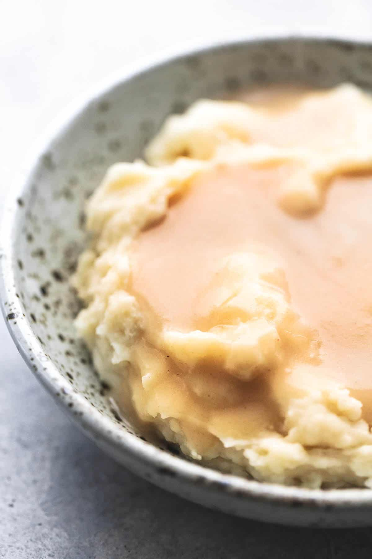 close up of chicken gravy on mashed potatoes in a bowl.