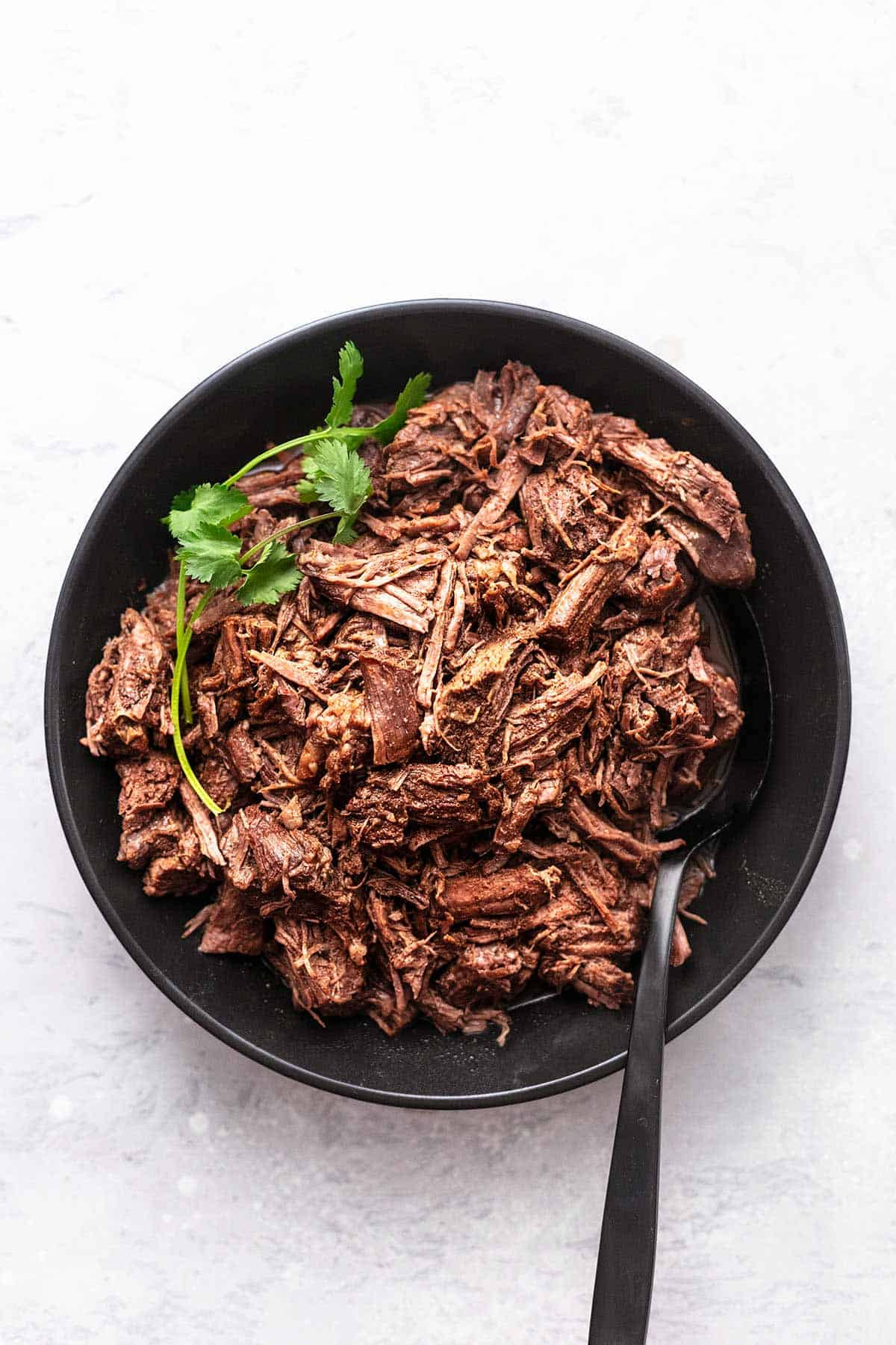 shredded beef on a platter