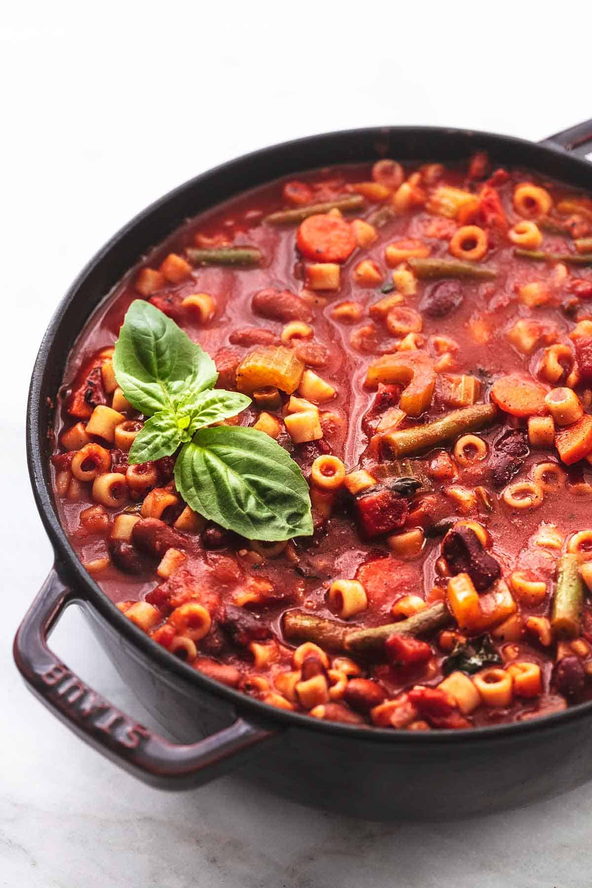 minestrone soup in a pot