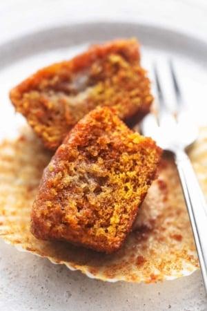 up close carrot muffin cut in half
