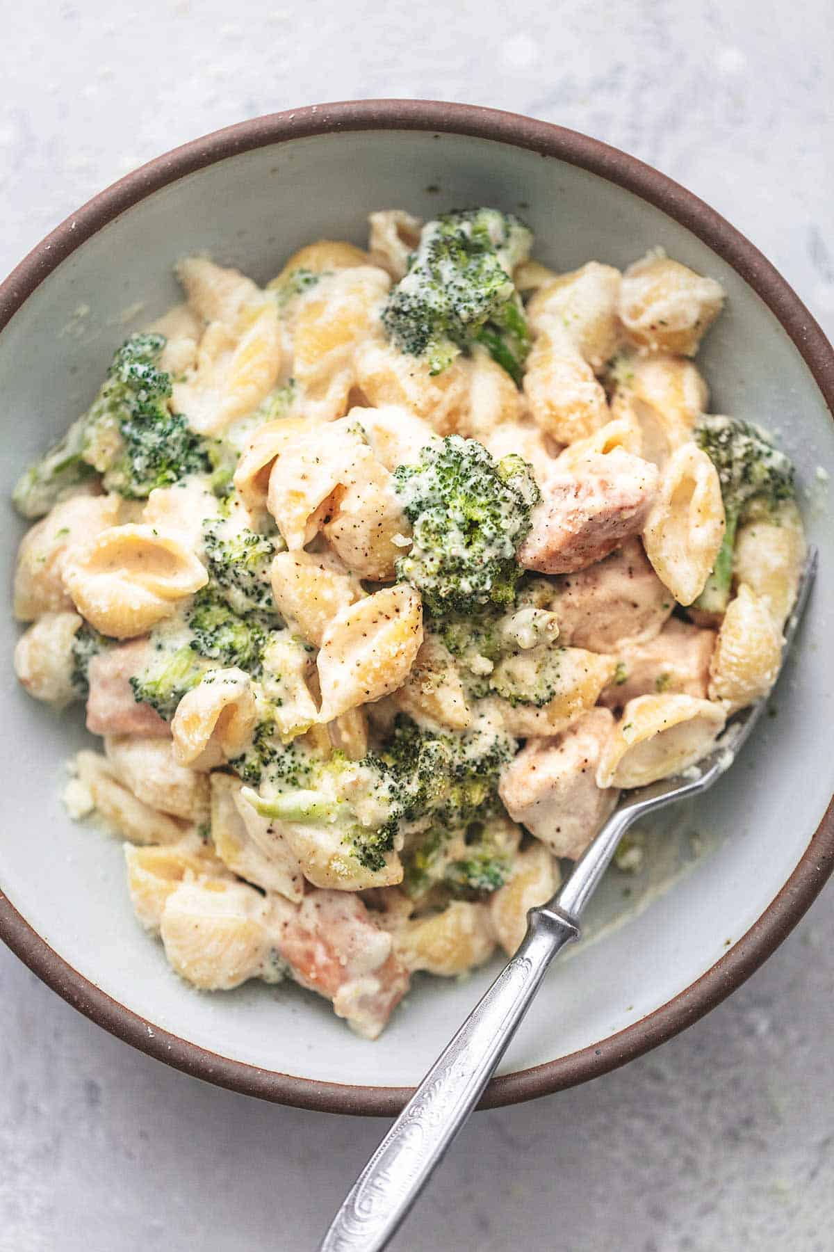 chicken and broccoli in white sauce in a bowl overhead