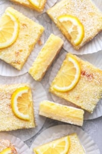 up close overhead lemon bars