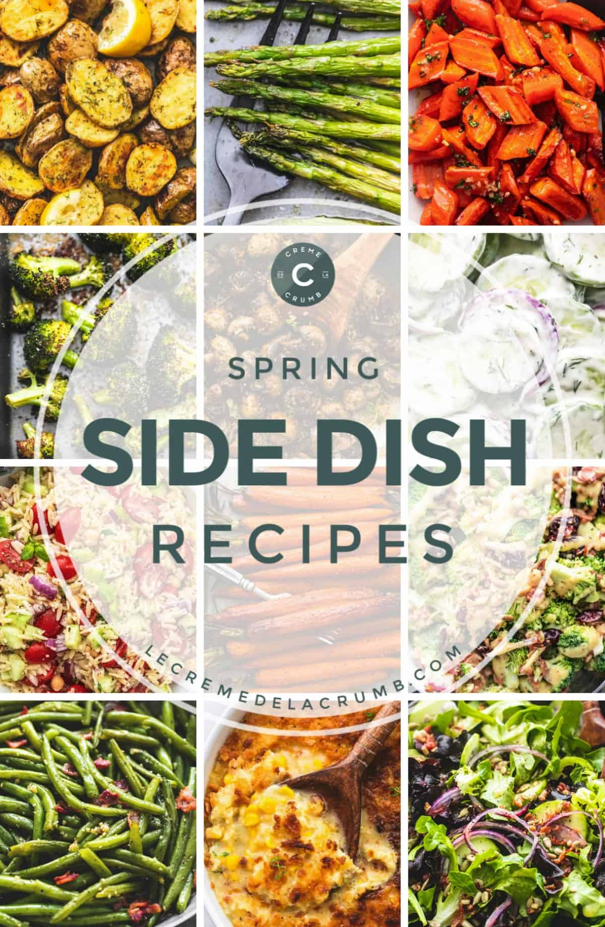 12 pictures in a collage - spring side dish recipes